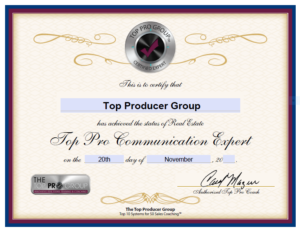 Top Producer Group Certified Communication Expert
