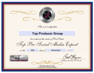 Top Producer Group Certified Social Media Expert