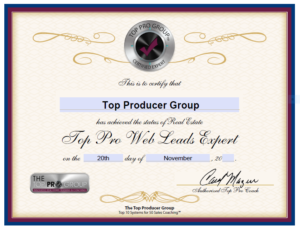 Top Producer Group Certified Web Leads Expert